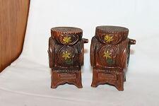 Vintage Ceramic Wood Look Coffee Grinders Painted Flowers Salt & Pepper Shakers