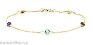 14K Yellow Gold Anklet Bracelet With Round Gemstones 9 Inches