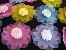 40 Organza Tulle Flower Applique/2 layers/trim/bow/Sheer/pink/blue/purple H496
