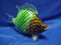 """MURANO Glass Tropical Fish 11"""" Green White Brown Swirl"""