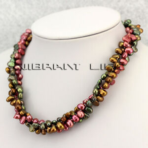 """18"""" 6-7mm 3 Row Multi Color Freshwater Pearl Necklace Strand Jewelry UE"""