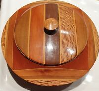 HAND CRAFTED TRINKET TURNED BOX VINTAGE NEW ZEALAND NATIVE TIMBERS