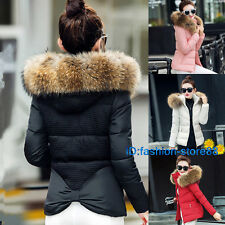 2019 women ladies quilted winter coat puffer fur collar hooded jacket parka down