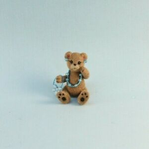 OOAK~Brown Bear~Blue Bead Necklace~Purse~Earings~Baby Toy~Dollhouse~Cheryl Brown