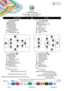 Switzerland v Spain UEFA Team sheet Euro 2020 Press Kit 02-07-2021