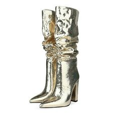 Womens Snakeskin Leather Pointed Toe Knee High Riding Boots Block Heels Shoes SZ