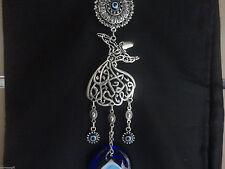 Hand Wall Hanging Turkish Silver Toned Evil Eye Blue Bead Nazar