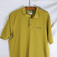 Columbia Mens Large Henely Shirt Mustard Green Casual Knit
