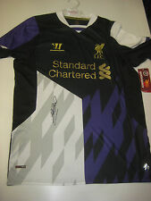 LIVERPOOL- STEVEN GERRARD HAND SIGNED 2013-14 THIRD JERSEY+ PHOTO PROOF + C.O.A