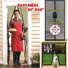 """Easy Mesh 82"""" x 40"""" Magnetic Holding Closing Bug Flies Screen Door Doorway"""
