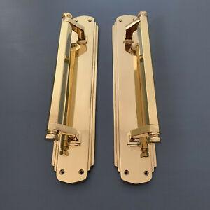 "LARGE BRASS 15"" ART DECO (PAIRS) DOOR PULL HANDLES KNOBS PLATES FINGER CINEMA"