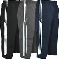 Mens 3/4 Shorts Summer Elasticated Waist Striped Jogging Long Zip Pockets