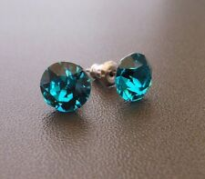 HYPOALLERGENIC Stud Earrings Blue Zircon Swarovski Crystal December Birthstone