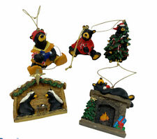 Big Sky Carver Bearfoot Black Bear Christmas Ornament Jeff Fleming Lot Of 5