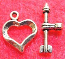50Sets WHOLESALE Tibetan Silver HEART & ARROW Toggle Clasps Connectors Q0993