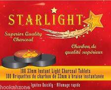 100 Pcs STARLIGHT Hookah Charcoal Quick Lite coal Incense 10 Rolls