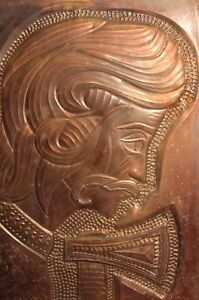 Vintage wall hanging copper plaque man with hatchet