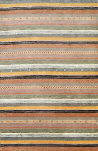 Striped Gabbeh Oriental Area Rug Wool Hand-knotted 6x8 Contemporary New Carpet