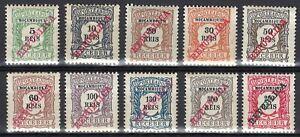 Portuguese Mozambique   1911   Porteado - REPUBLICA   #11-20 MH
