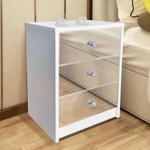 Mirrored Bedside Table Unit Matt Cabinet 2/3 Storage Drawers Bedroom Nightstand