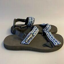 Reef Convertible Strap Sandals Flip flops black base navy wave pattern surf 90s