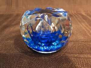 """Limited Edition 27 / 75 Caithness Scotland """"Sea Crystal"""" Faceted Paperweight"""