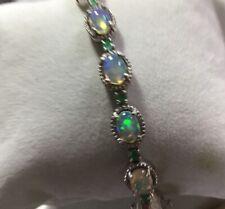 "8 Ct, Ethiopian Opal Tennis Bracelet, Emeralds, Sterling Silver, Size 7.5"""