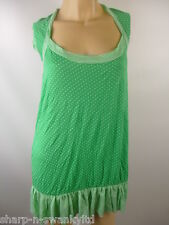 Ladies Green/White Spotted Stripe Trim Long Stretch Top UK 14 EU 42