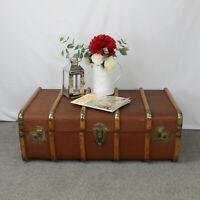 LARGE Vintage True Steamer Trunk. 6 Wood Slats and Light Brown Cover.