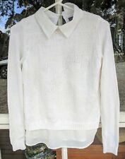 TEMPT COLLECTION White Layered Knit Top Shirt with Ancor M 12 AS NEW