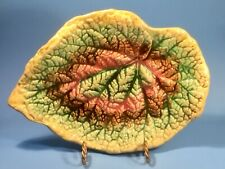 Antique Platter Majolica Begonia Leaf Tray c.1800's 10.75 inches Long