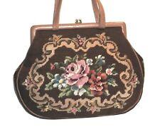 Vtg. 1950s FLORAL HandNeedlepoint Tapestry & Genuine Leather Framed Satchel