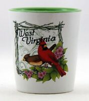 WEST VIRGINIA CARDINAL BIRD CERAMIC SHOT GLASS SHOTGLASS