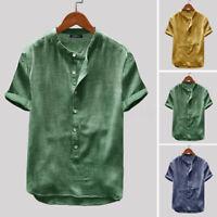100% coton Vintage Hommes T-shirt décontracté à manches courtes Chemises hauts