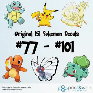 Pokemon Go Decal Sticker Bedroom Vinyl Kids Original Generation 151 #77 - #101