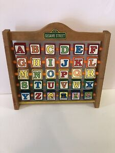 Vintage Seasame Street Wooden Alphabet Letters With Pictures-Spins, RARE!