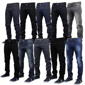 Mens Denim Jeans Crosshatch Pants Slim Fit Straight Leg Bottoms Trouser Ruched