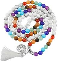 6mm White Howlite 7 Chakra 108 Mala Beads Prayer Stones Bracelet Necklace