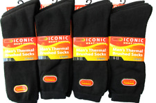 12 Pairs Mens Thermal Socks Outdoor Work Black Thermal Socks UK 6-11 ABS 0.3 TOG