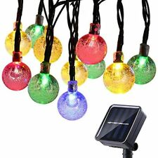 Icicle Solar String Lights Outdoor 20ft 30 LED Bubble Globe Fairy Lighting