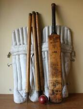 More details for vintage cricket kit. pads, bat, stumps & ball. decorative antique sport bar shop