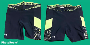 Lot of 2 Woman's UNDER ARMOUR Black Green Athletic Shorts Bottoms Size M/L