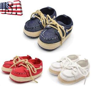 Newborn Infant Baby Kids Boy Girl Soft Crib Sole Canvas Sneakers Prewalker Shoes