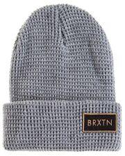 NEW Brixton Rift Beanie Light heather grey waffled knit 6 pannel snapback baseba