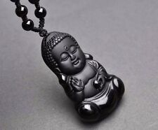 Buddha Natural Obsidian Carved Pendant Necklace Beads Meditation Necklace Lucky