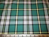 Cape Breton Tartan Plaid Fabric ~Green  Yellow Plaid ~SOLD BY YARD