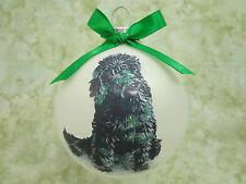 D067 Hand-made Christmas Ornament dog- poodle labradoodle - black sitting cute