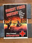 RARE 1946 US Dept. of Agriculture Forest Service Poster - Forest Fires Destroy
