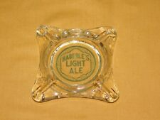 "VINTAGE BEER AD TOBACCO CIGARETTES 5"" ACROSS HABERLE'S LIGHT ALE GLASS ASHTRAY"
