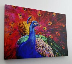 Gemälde Pfau Kunst Art Leinwand Canvas Bild Wandbild Kunstdruck L1615